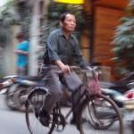 Cyclist in Hanoi, Vietnam